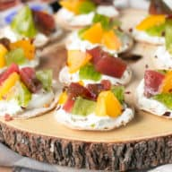 Spicy Heirloom Tomato Whipped Herb Goat Cheese Bites | cakenknife.com #appetizer #cheese