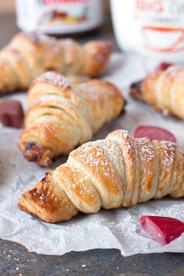 Nutella Rhubarb Puff Pastry Croissants   cakenknife.com #breakfast #brunch #pastry