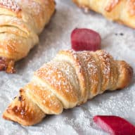 Nutella Rhubarb Puff Pastry Croissants | cakenknife.com #breakfast #brunch #pastry