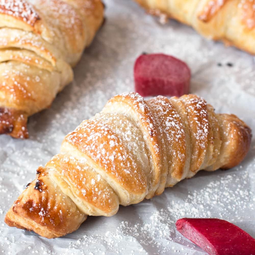 Nutella Rhubarb Puff Pastry Croissants Cake N Knife