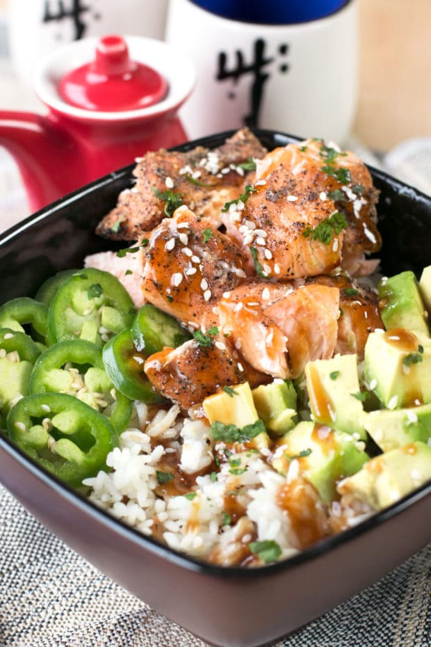 Sesame Salmon Avocado Bowls   cakenknife.com #healthy #dinner #recipe