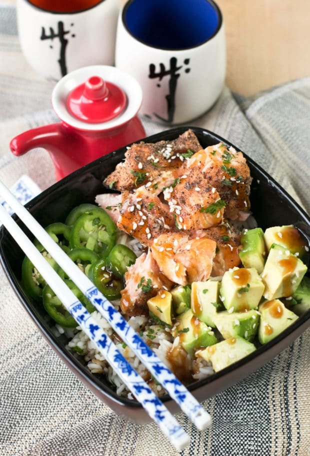 Sesame Salmon Avocado Bowls | cakenknife.com #healthy #dinner #recipe