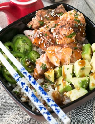 Sesame Salmon Avocado Bowls | cakenknife.com #healthy #dinner #recipe