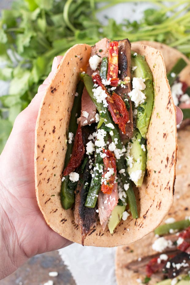 Grilled Flank Steak Poblano Tacos | cakenknife.com #grilling #grill