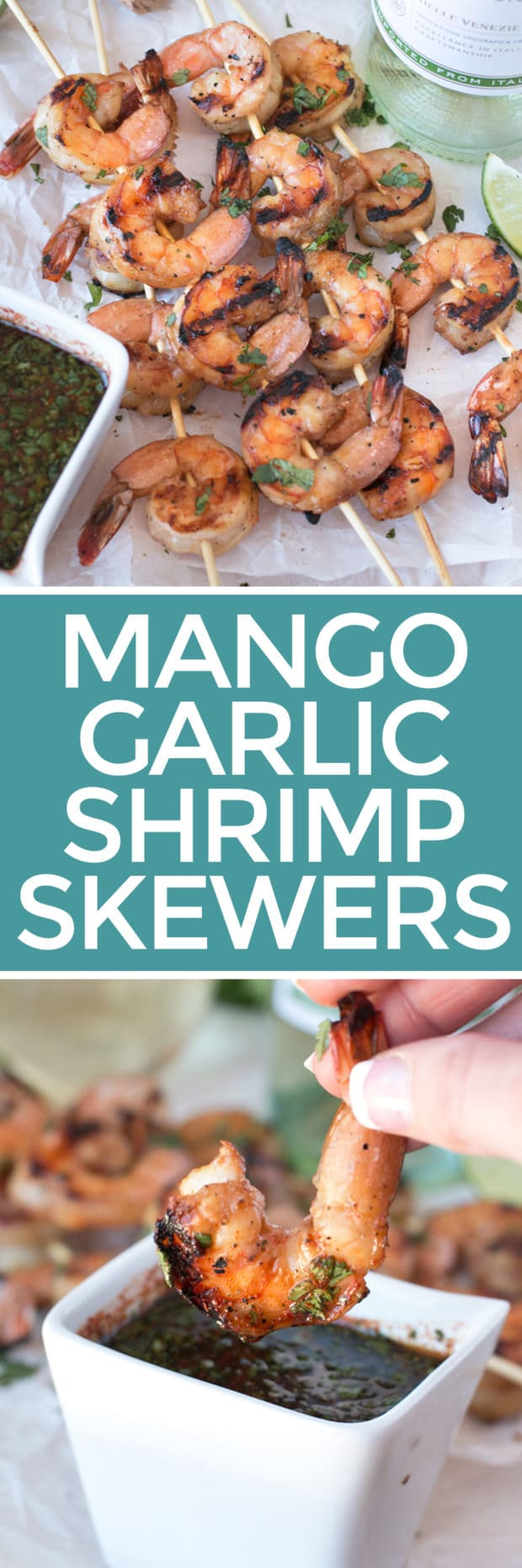 Mango Garlic Shrimp Skewers with Spicy Cilantro Dipping Sauce | cakenknife.com #21andup @CavitWines