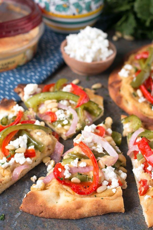 Garlic Hummus & Roasted Vegetable Grilled Flatbread