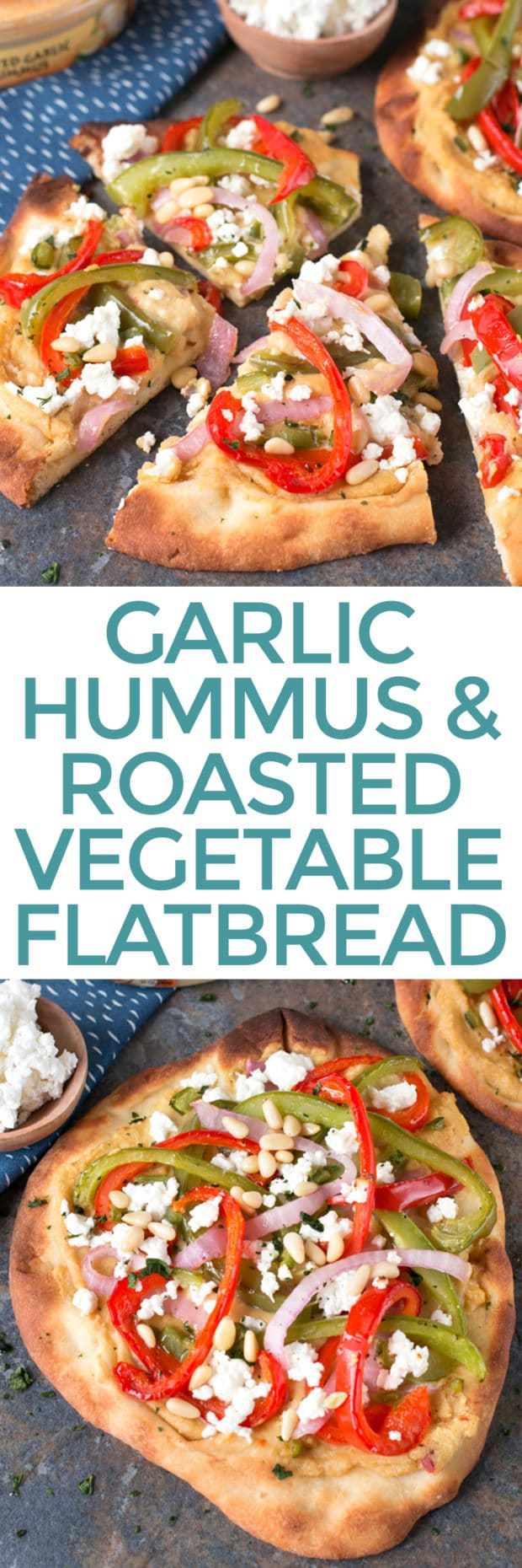 Garlic Hummus & Roasted Vegetable Grilled Flatbread | cakenknife.com #unofficialmeal #appetizer #grilling