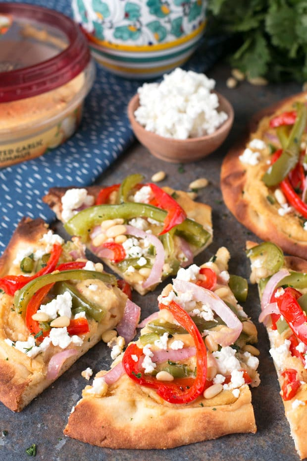 Garlic Hummus & Roasted Vegetable Grilled Flatbread   cakenknife.com #unofficialmeal #appetizer #grilling