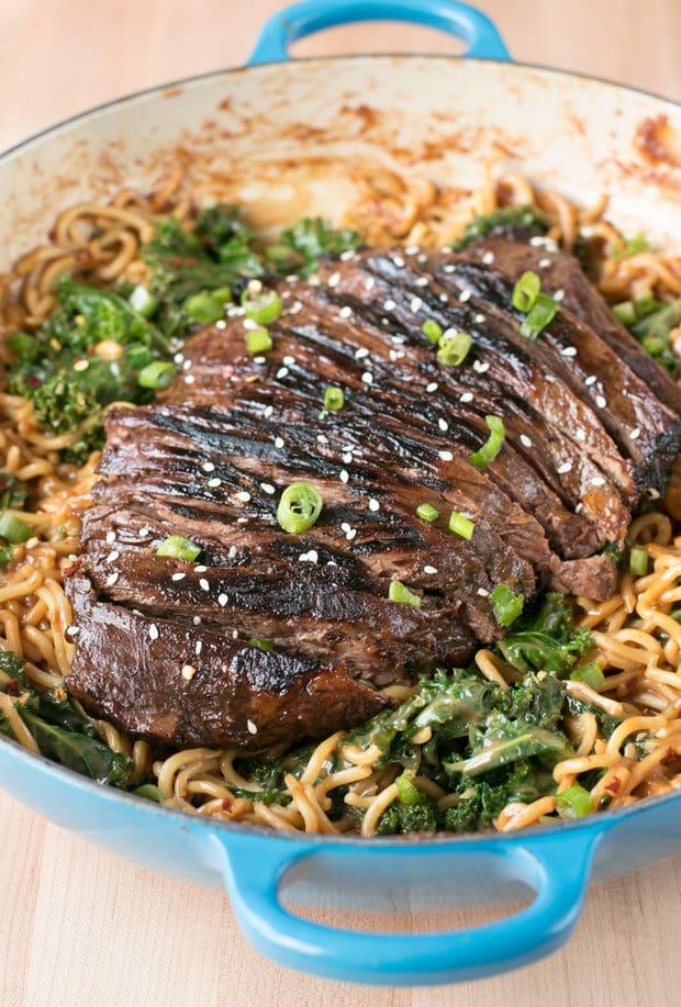 Soy Marinated Flank Steak with Creamy Kale Peanut Noodles - My Favorite Valentine's Day Menu Ideas | cakenknife.com #dinner #datenight #pasta #steak