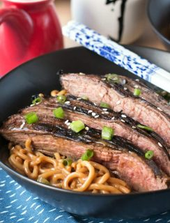 Soy Marinated Flank Steak with Creamy Kale Peanut Noodles | cakenknife.com #dinner #datenight #pasta #steak