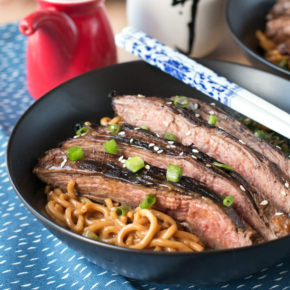 Soy Marinated Flank Steak with Creamy Kale Peanut Noodles