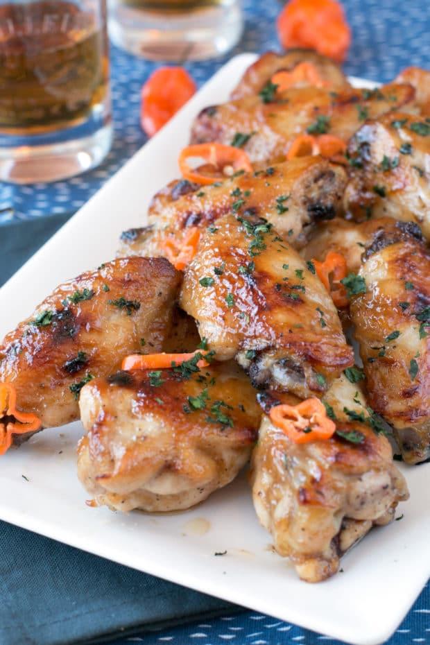 Bourbon Habanero Honey Chicken Wings   cakenknife.com #snack #appetizer #baked