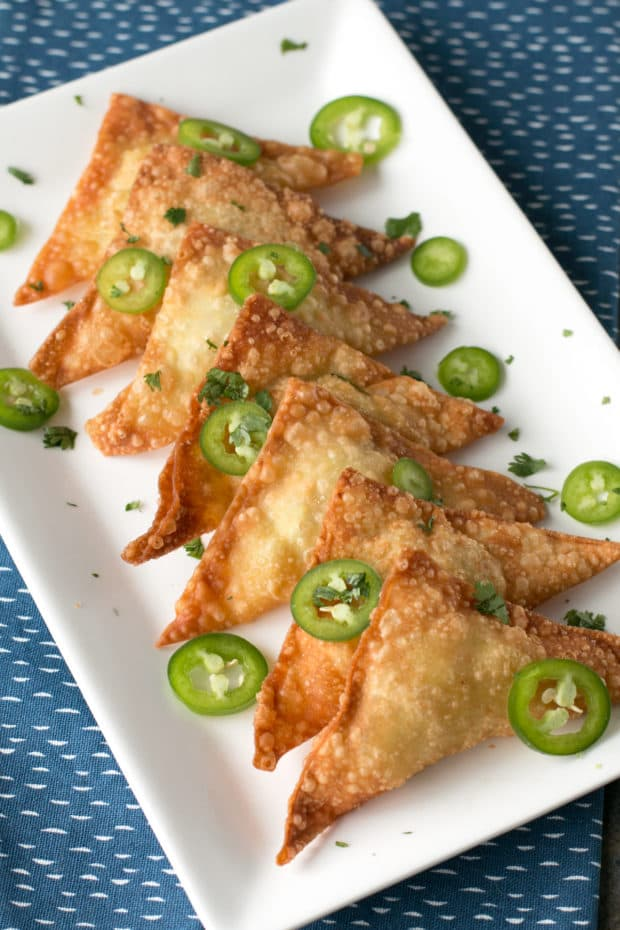 Jalapeño Avocado Cream Cheese Wontons   cakenknife.com #appetizer #party #tailgating