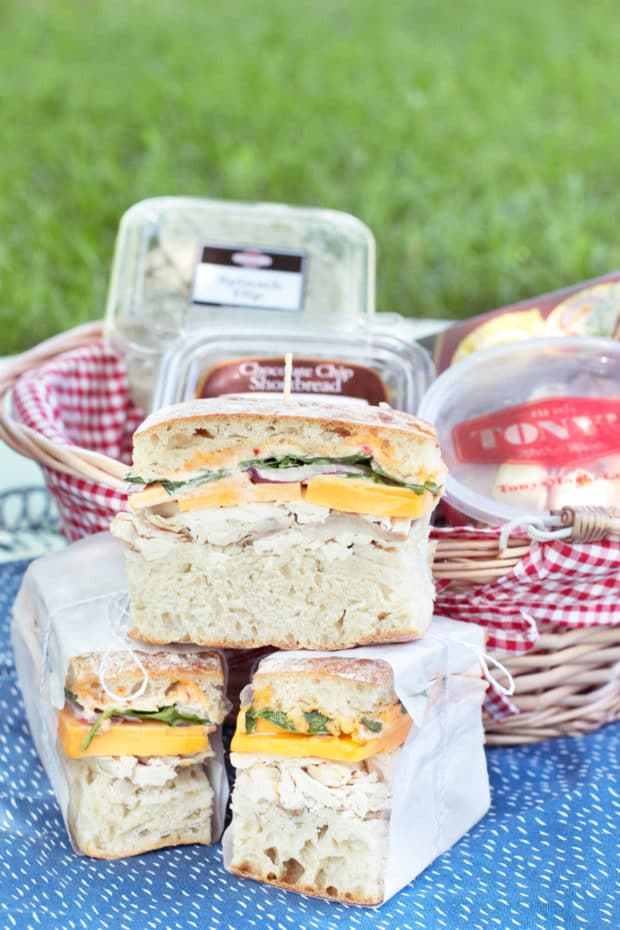 Spicy Rotisserie Chicken Pressed Sandwich | cakenknife.com #lunch #picnic #summer