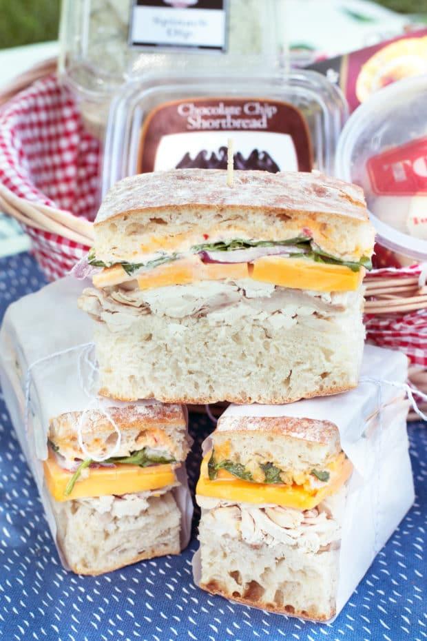 Spicy Rotisserie Chicken Pressed Sandwich | cakenknife.com #lunch #picnic #summer