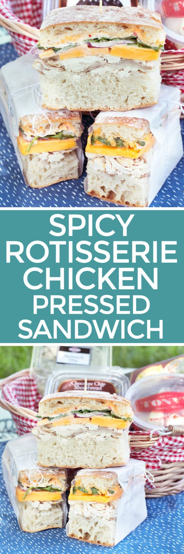 Spicy Rotisserie Chicken Pressed Sandwich - Cake \'n Knife
