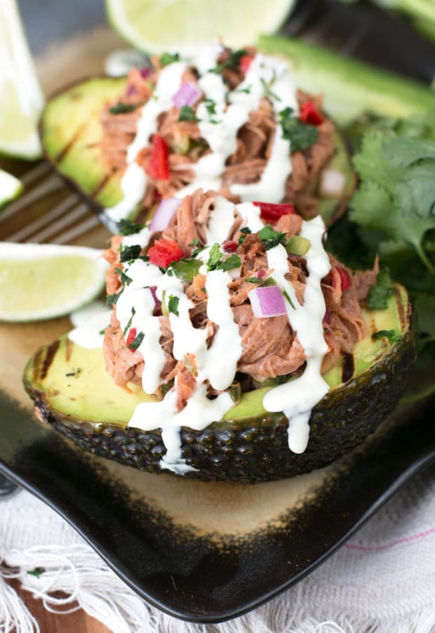Grilled Pulled Pork Tex Mex Stuffed Avocados | cakenknife.com #grilling #healthy #dinner