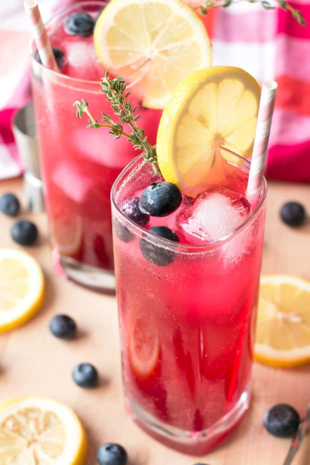 Sparkling Blueberry Thyme Vodka Lemonade | cakenknife.com #cocktail #lemonade #drink #recipe