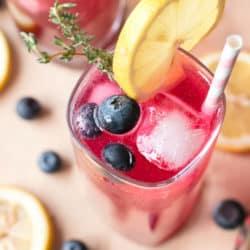 Sparkling Blueberry Thyme Vodka Lemonade | cakenknife.com #cocktail #lemonade #drink #recipe
