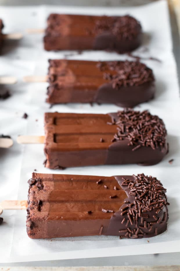 Dark Chocolate Dipped Mocha Popsicles | cakenknife.com #ad #popsicle #dessert #chocolate