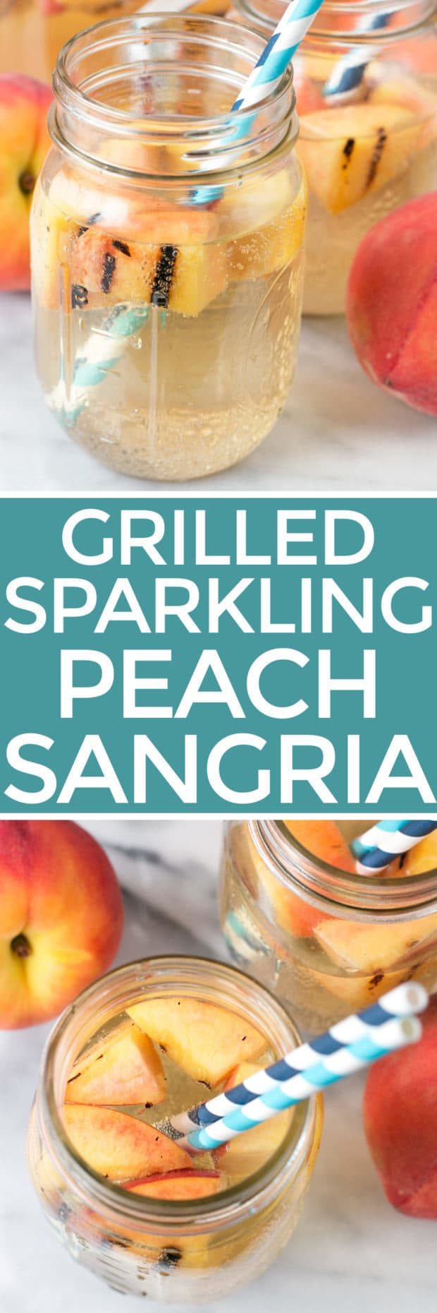 Sparkling Grilled Peach Sangria | cakenknife.com #grilling #peaches #wine #cocktail
