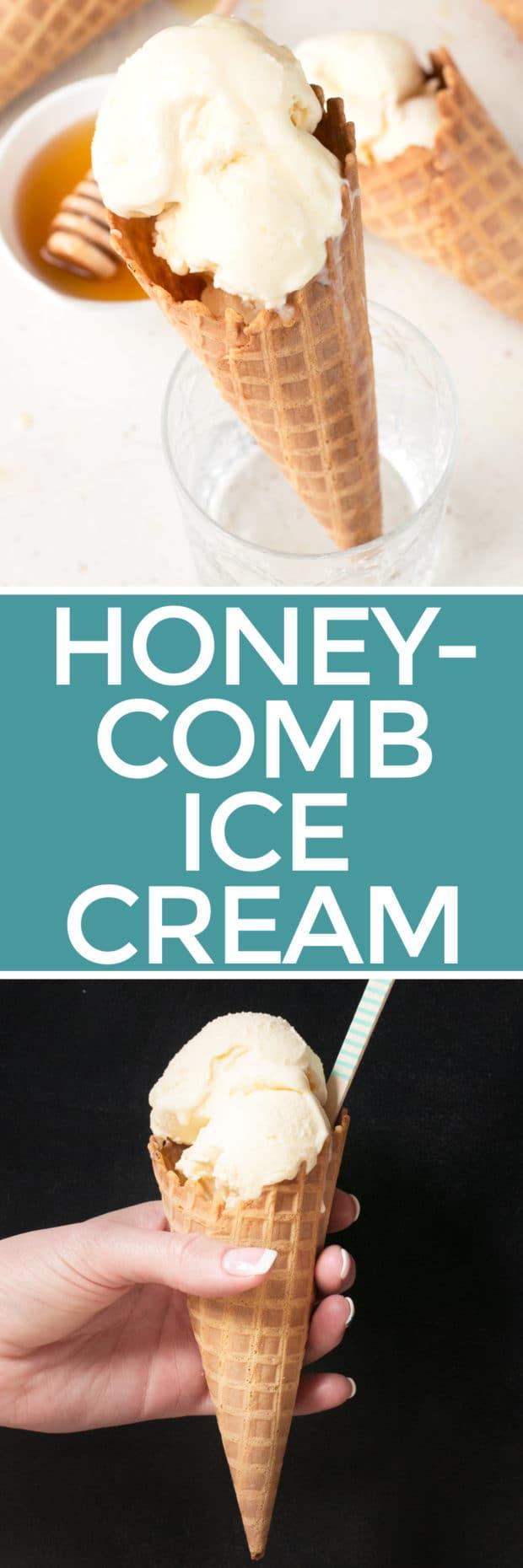 Honeycomb Ice Cream | cakenknife.com #icecream #honey #dessert