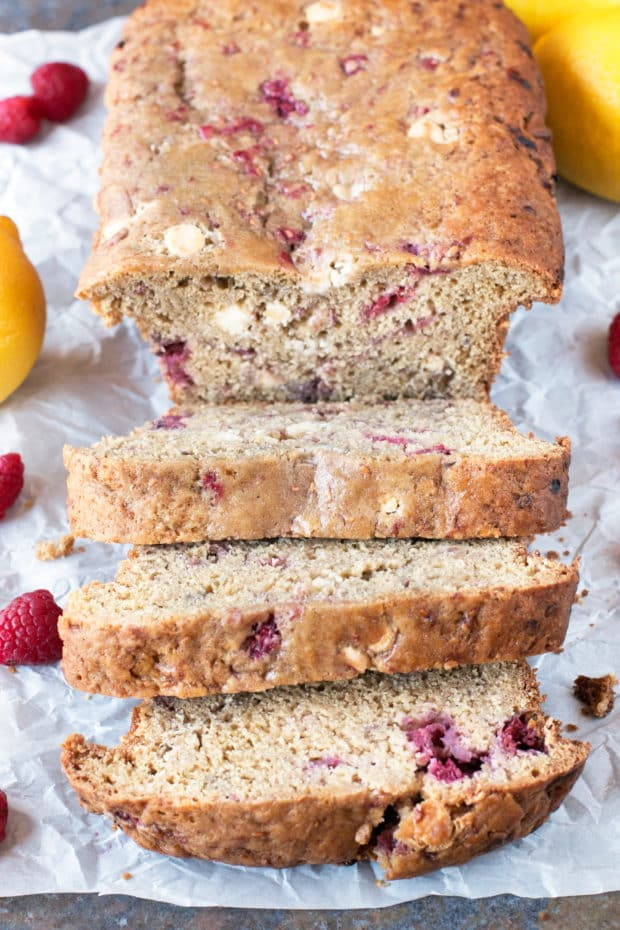Raspberry Lemon White Chocolate Chip Loaf | cakenknife.com #breakfast #brunch #bread