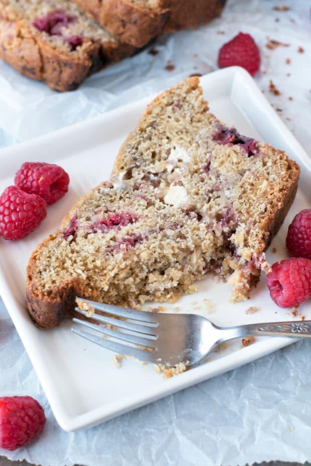 Raspberry Lemon White Chocolate Chip Loaf | cakenknife.com #breakfast #brunch #bread