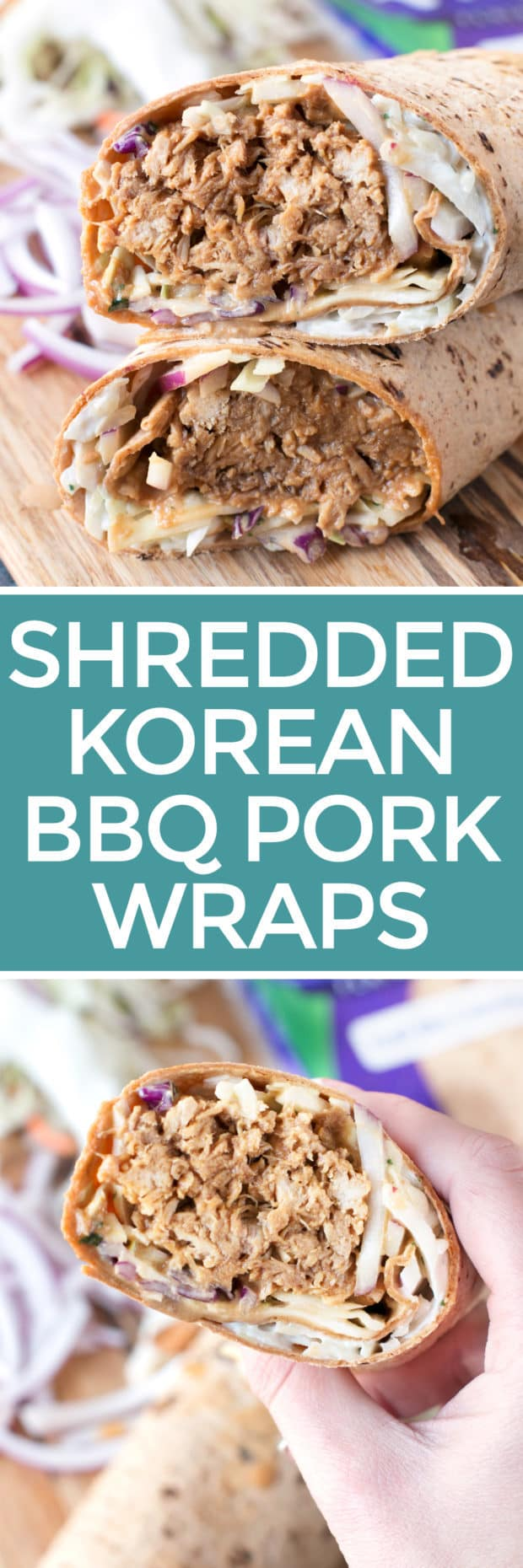Shredded Pork Korean BBQ Wraps with Kimchi Slaw   cakenknife.com #sponsored #lunch #healthy