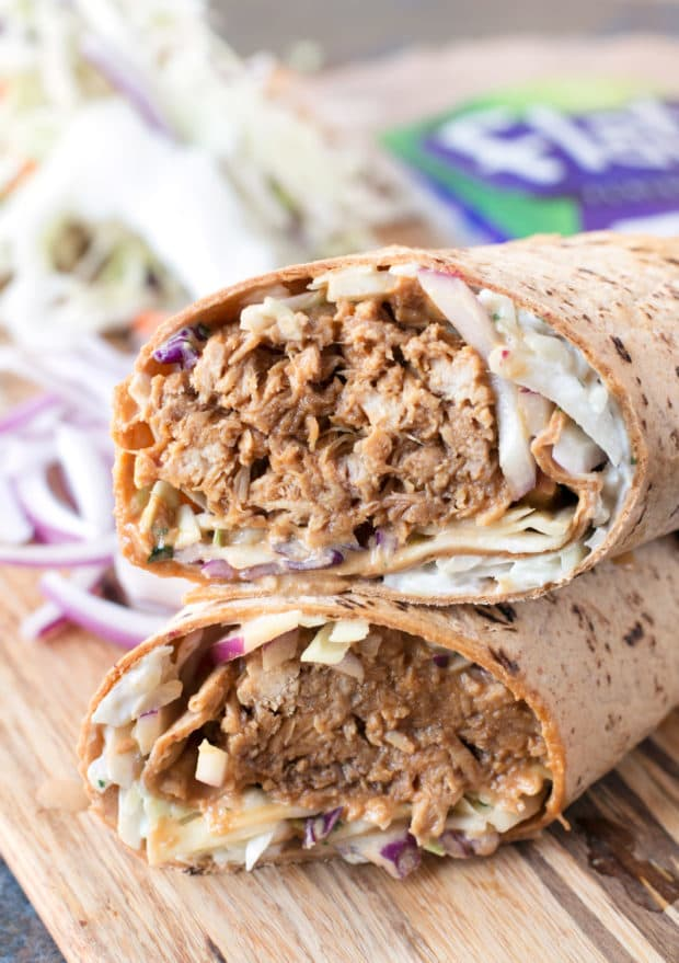 Shredded Pork Korean BBQ Wraps with Kimchi Slaw | cakenknife.com #sponsored #lunch #healthy
