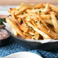 Spicy Garlic Cilantro Fries with Curry Ketchup | cakenknife.com #frenchfries #streetfries #snack