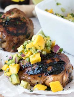Spicy Ginger Grilled Chicken Thighs with Avocado Salsa | cakenknife.com #grilling #summer #recipe