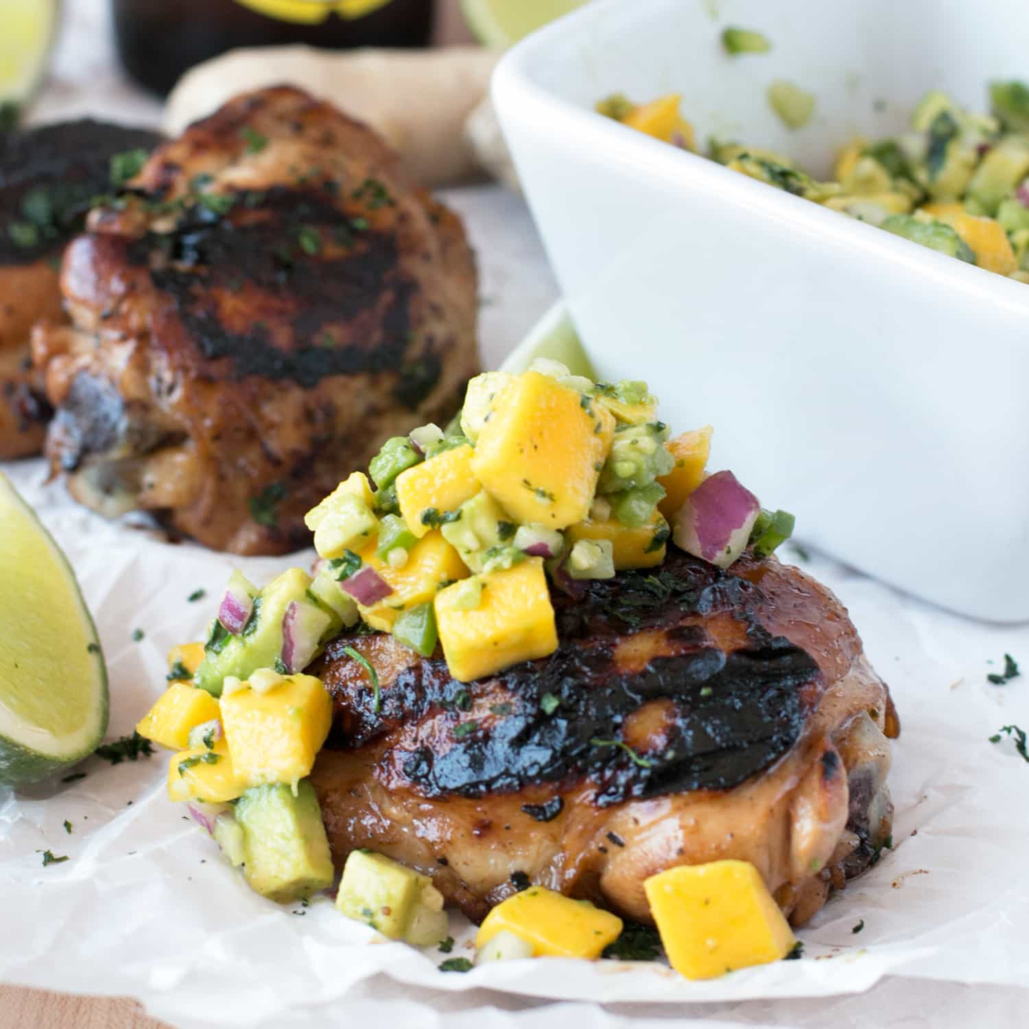Spicy Ginger Grilled Chicken Thighs with Avocado Salsa