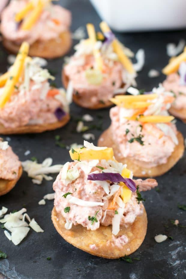 Bang Bang Shrimp Tostada Bites with Mango Slaw   cakenknife.com #appetizer #party #bangbangshrimp