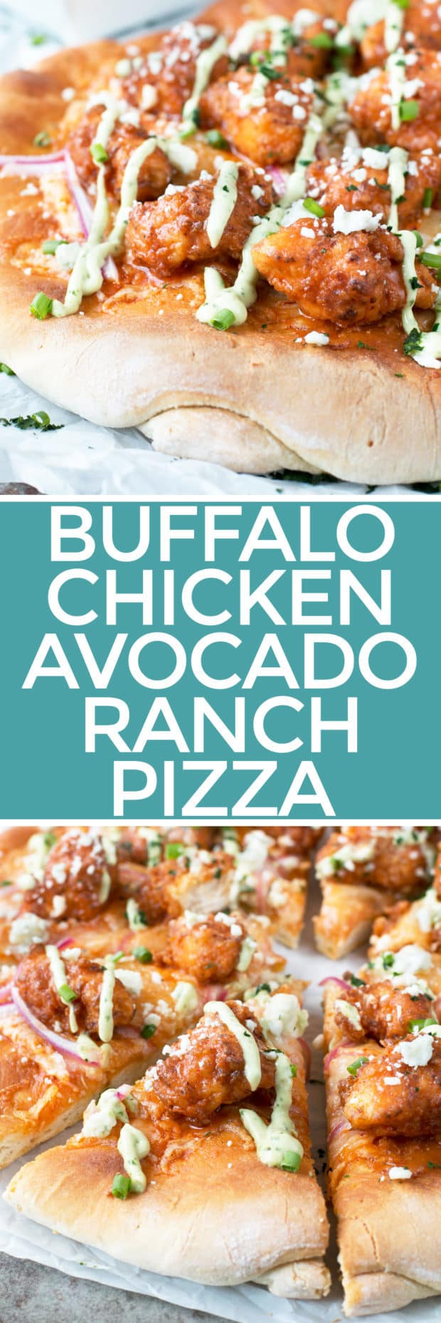 Buffalo Chicken Pizza with Blue Cheese Avocado Dressing | cakenknife.com #pizza #buffalochicken #chickenwings