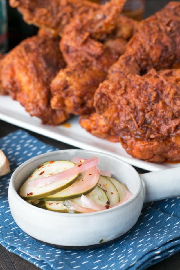 Hot Chicken with Homemade Quick Pickles | cakenknife.com #dinner #southern #nashville #friedchicken