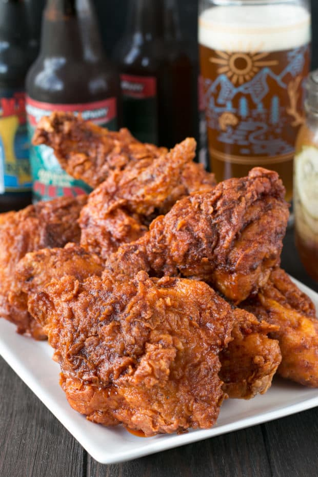 Hot Chicken with Homemade Quick Pickles | cakenknife.com #dinner #southern #nashville #friedchicken