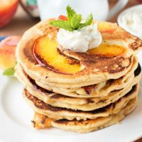 Peach Pancakes with Whipped Mint Butter and Bourbon Maple Syrup