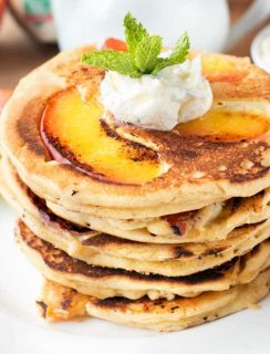 Protein Peach Pancakes with Whipped Mint Butter and Bourbon Maple Syrup | cakenknife.com #breakfast #brunch #vegan #glutenfree #paleo