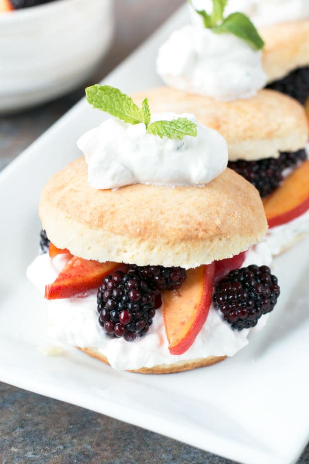 Blackberry Peach Shortcake Stacks with Mint Whipped Cream | cakenknife.com #dessert #summer