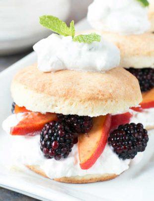 Blackberry Peach Shortcake Stacks with Mint Whipped Cream | cakenknife.com #dessert #summer