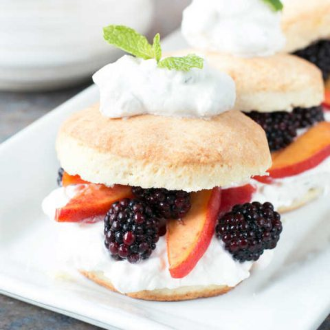 Blackberry Peach Shortcake Stacks with Mint Whipped Cream