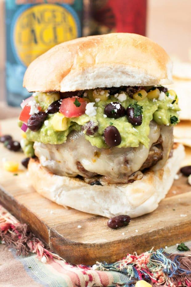 Southwestern Guacamole Burger | cakenknife.com #grilling #burgers #avocado