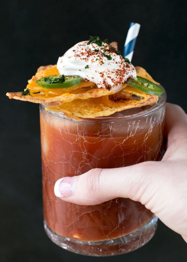 Nacho Spicy Bloody Mary | cakenknife..com #cocktail #nachos #jalapeno