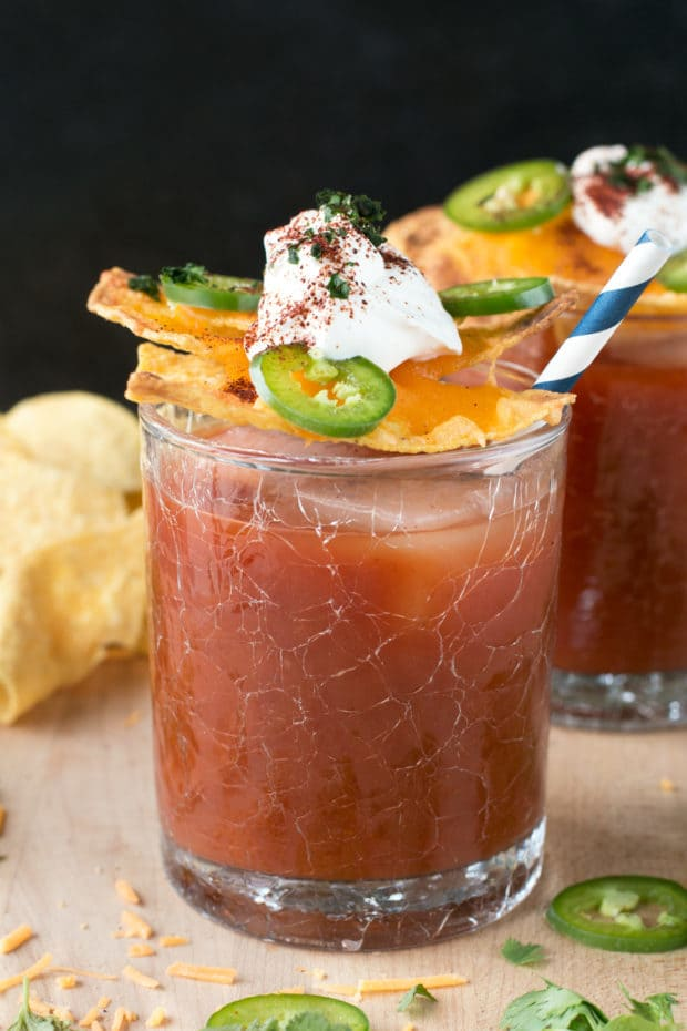 Nacho Spicy Bloody Mary | cakenknife..com #cocktail #nachos #jalapeno