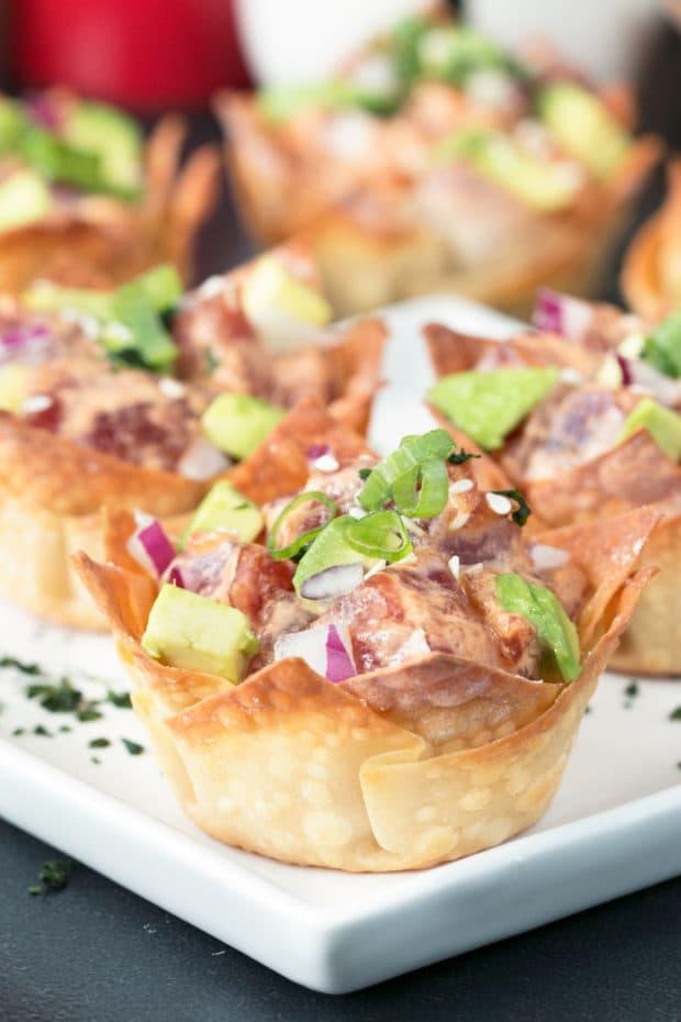 Spicy Tuna Poke Wonton Cups | cakenknife.com #sushi #poke #hawaiian #appetizer