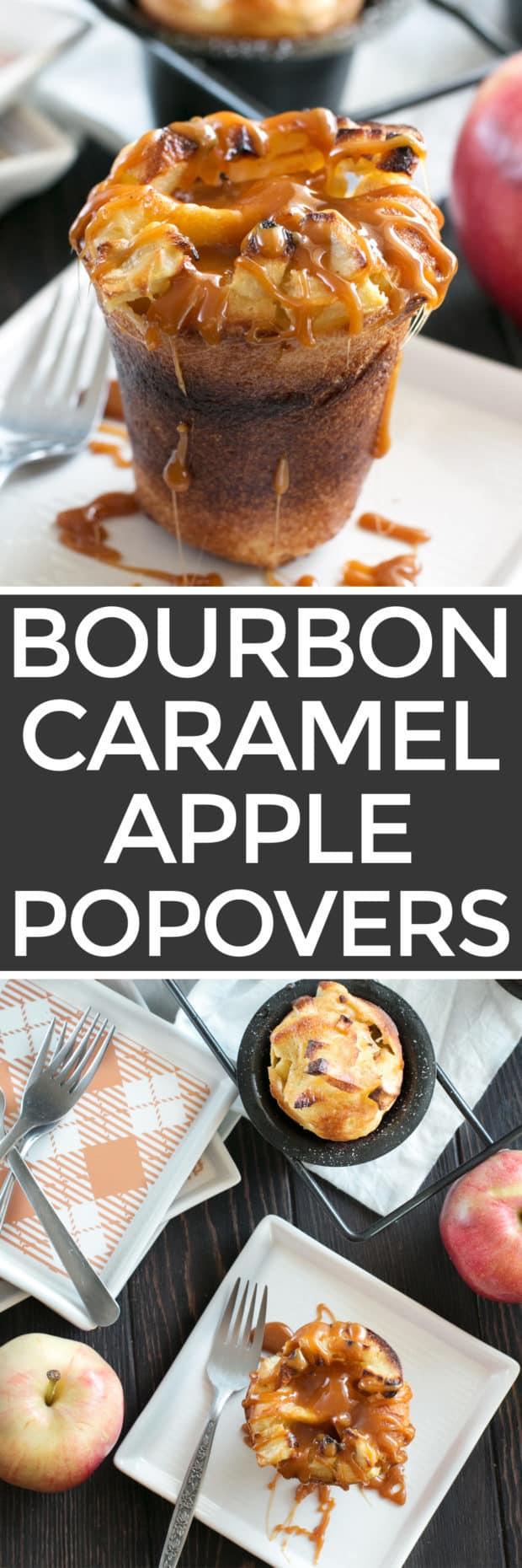 Bourbon Caramel Apple Popovers | cakenknife.com #dessert #caramel #applepie #fall
