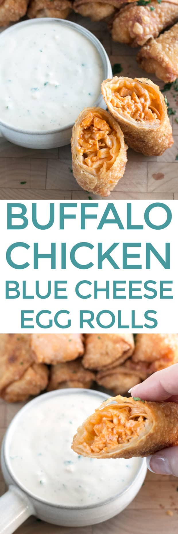 Blue Cheese Buffalo Chicken Egg Rolls | cakenknife.com #buffalochicken #tailgating #appetizer #eggrolls