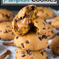 Caramel Stuffed Pumpkin Cookies Pinterest Image