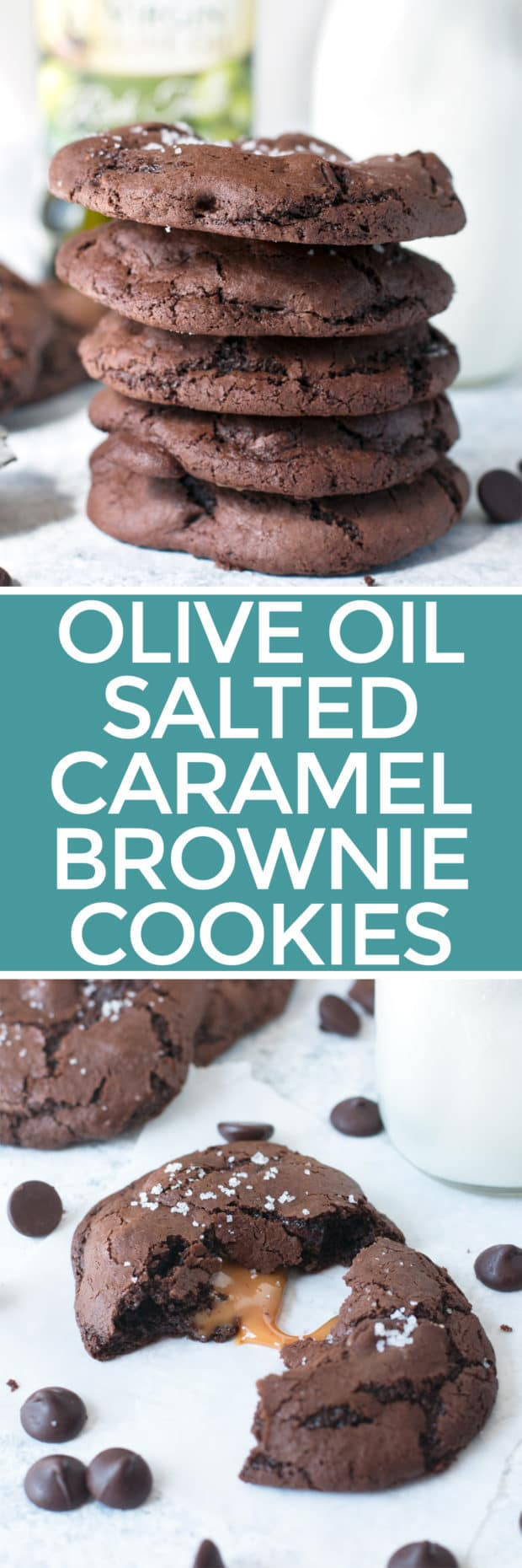 Olive Oil Salted Caramel Brownie Cookies | cakenknife.com #dessert #chocolate #baking #ad
